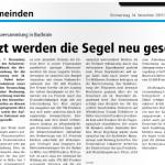 """Gemeinde Buchrain: """"Jetzt werden die Segel neu gesetzt"""""""